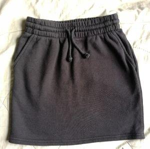 TNA fleece lined black mini sweat skirt XXS